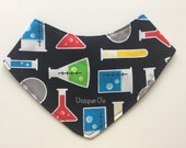 Geeky baby bandana bib, science beakers, STEM gifts, ready to ship! Scientific theme, nerdy baby bib, chemistry baby gift, primary colors