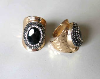 Pave Rhinestone Rings With Black Agate Inlay- B1630