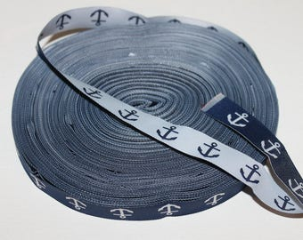 """5/8"""" Wide Anchor Jacquard Ribbon- Navy and White Anchor-Woven-Reversable"""