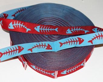 "7/8"" Wide Bonefish Jacquard Ribbon- Light Blue and Red-Woven-Reversable"