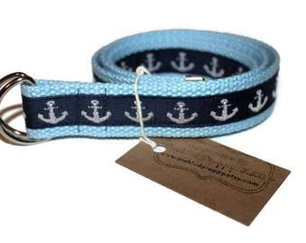 Kids Light Blue Anchor Belt