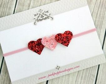 Heart Headband, Valentine's Day Headband, Glitter Heart Headband, Pink Headband, Baby Girl Headband, Infant Valentines Headband, Baby Bow