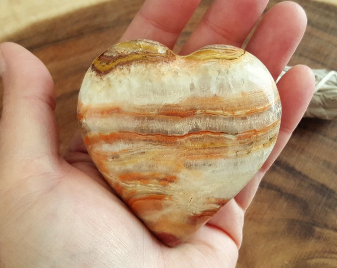 Pakistani Onyx Heart ~ One Reiki Infused gemstone heart approx 3 x 3 inches (PH20)