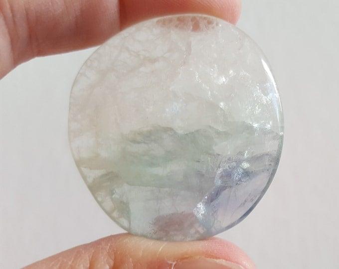 Med Rainbow Fluorite Palm Stone, Chakra Stone, Worry Stone, Fidget Stone ~ 1 Reiki infused polished flat stone approx 1.6x1.5 inch (FLW75)