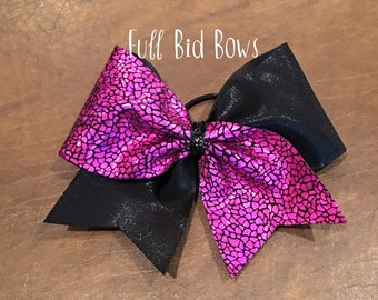 Cheer Bow - Pink Shattered Glass and Black
