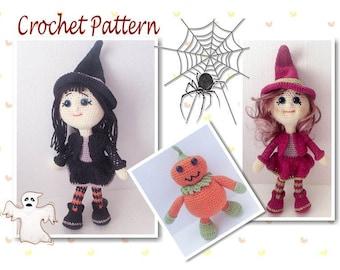 Crochet Pattern, Rowena Witch Doll, Pumpkin Pal, Witch Doll Amigurumi, Crochet Doll Pattern, Crochet Witch, Witch Amigurumi, Halloween Witch