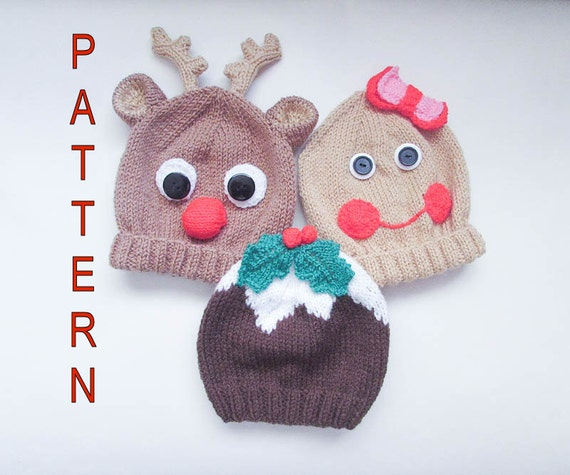 Knitting Pattern Christmas Pudding Gingerbread Rudolph Animal Baby Beanie Hat...