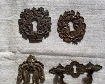 Vintage Antique 1900s French Escutcheon Key Hole Keyhole Covers Brass Four (4) pieces