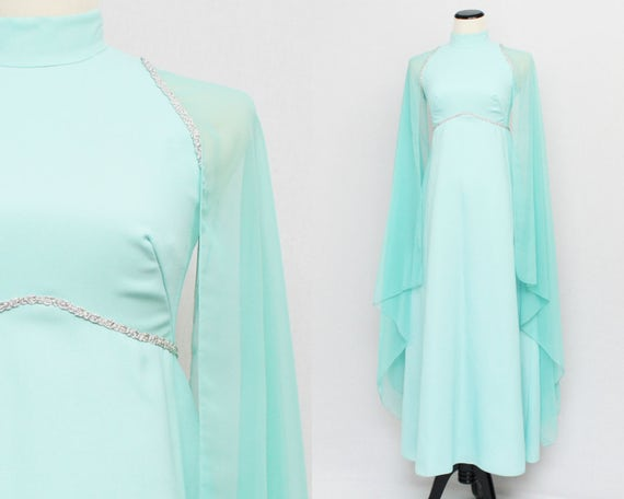 Vintage 1970s Turquoise Cape Sleeve Gown - Size Extra Small