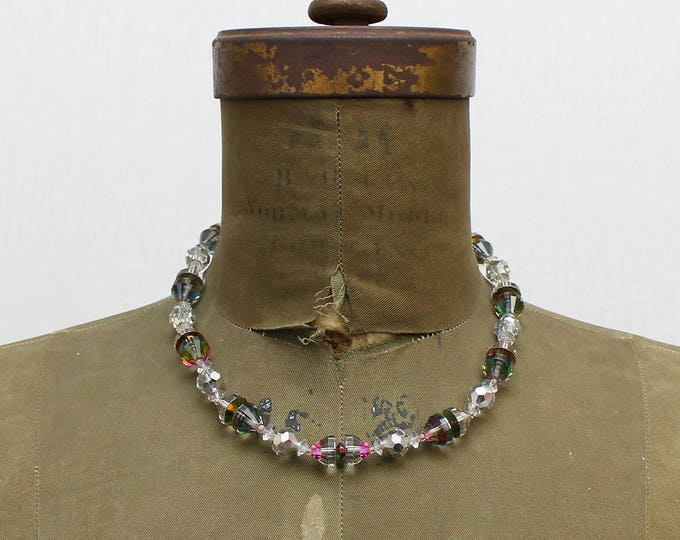 60s Vendome Crystal Bead Necklace - Vintage 1960s Iridescent Beaded Necklace