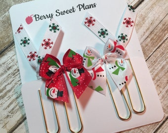 Frosty Snowmen - Set of 4 Planner Clips / Bookmarks