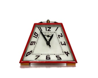 Red French vintage alarm clock, trapezoid shape home decor