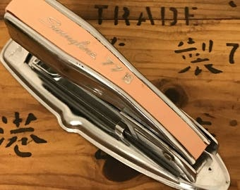 Vintage MCM Mini Swingline 77B Stapler Chrome/peachy Pink!