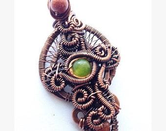 Celtic Sunrise Copper Gemstone Wirewrap Cross Free Shipping