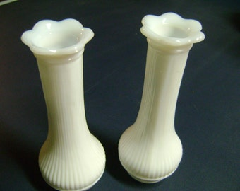 Milkglass Vases Vintage 6 Inch Set of 2 Sweet