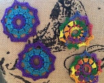 PDF Crochet Pattern: Mandala Madness Earrings Crochet Pattern