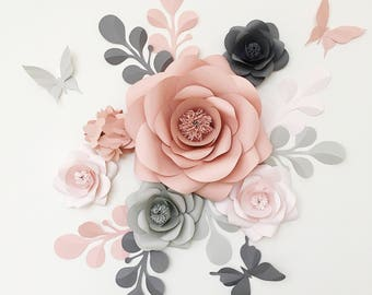 Royal Paper Flower Set in Light grey, Dusty Rose and Fark Grey - Elegant Paper Flowers - Dusty Rose and Grey Nursery Paper Flowers