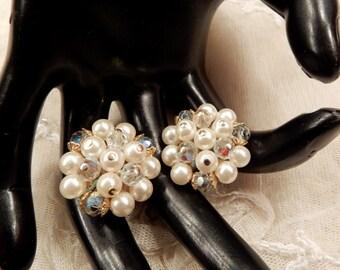 Vintage Laguna Faux Pearl and AB Crystal Bead Cluster Earrings