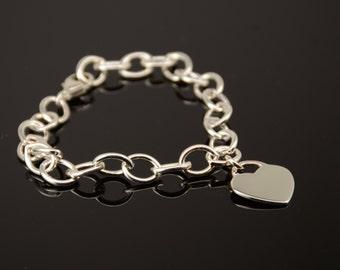 Sterling silver bracelet. 925 bracelet. Silver heart bracelet