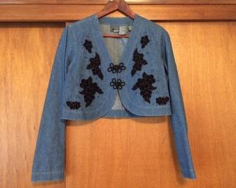 Vintage Women's LizWear Denim Bolero Jacket Black Velvet 6 Cropped