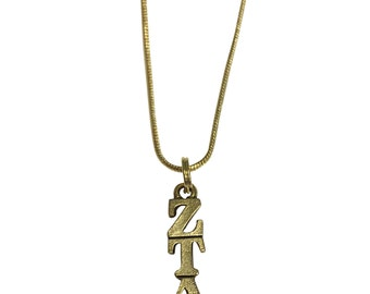 Zeta Tau Alpha ZTA Gold (AP) Sorority Lavalier with Chain