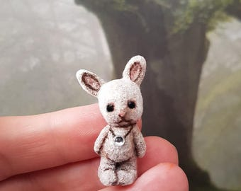 OOAK Micro Miniature Bunny Eddie  Sculpture  ~ Artist Clay Handmade Bear By Michele Roy