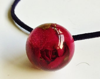 Rose Bud Sphere Resin Necklace
