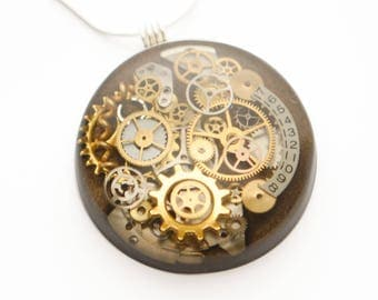 Steampunk Pendant / Necklace Clock and Watch Parts in Resin, Sterling Silver Chain, Bronze, Brown, Cogs, Gears, Hand Made , Unique