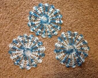 Set of 3 Blue Doilies