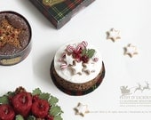 Snow Topped Marzipan Rich Fruit Rum Cake with German Star Cookies -Xmas- in 1/12th miniature dollhouse Christmas Cake