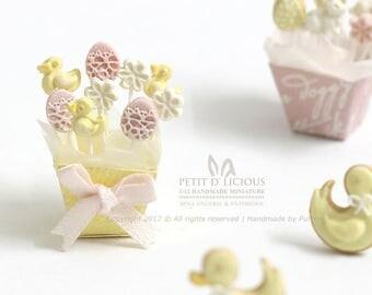 Spring Easter Ducky Flower Egg themed Lollipops- Sweet Pastel Cake Pops - Dollhouse Miniature food 1:12