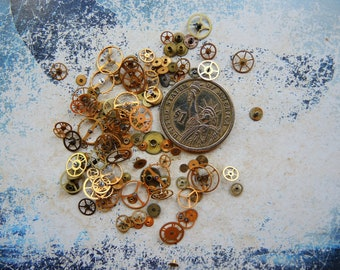 Vintage Tiny BRASS gear / Steampunk Gears / Altered Art Industrial Mixed Media Assemblage Scrapbooking / Watch gears / Watch parts Ww7m