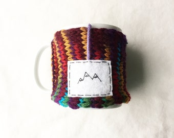 Mountains Knitted Mug Cozy, Onana Womens Gift, Personalized Knitted Gift, Cup Cozy, Knit Mug Cozy, Knitted Coffee Cup Cozy