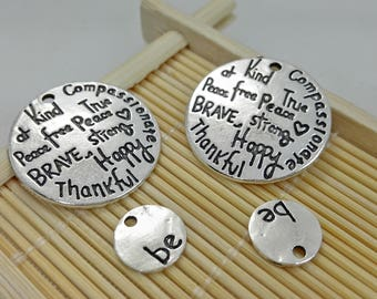 "10 Pairs  Antiqued silver  kind wise compassionate true thankful happy"" Charms, Antiqued silver Pendants , Wholesale Charms"