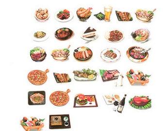 28 piece Food Gourmet Pattern Sticker Lot Pack