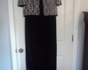 Laurence Kazar black and silver evening dress