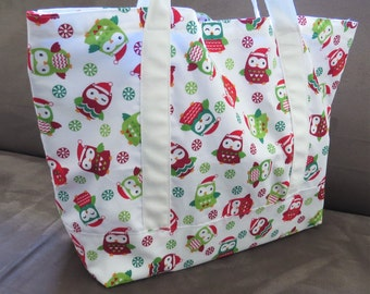 Christmas red green owl print special Tote bag, cotton bag, reusable grocery bag, Green Market bag