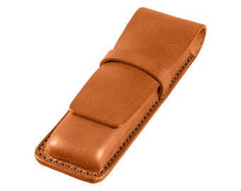 Leather Pen Case, Handmade, Full Grain Tan Bridle Leather, Fits 2 Pens