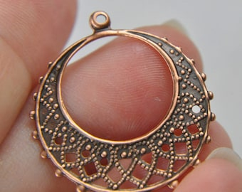 Brass filigree earrings base 25mm sold by 1 pair