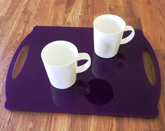 "Rectangle Flat Serving Tray - Purple Gloss Finish Acrylic, 3mm Thick 30cm x 40cm 12""x16"""