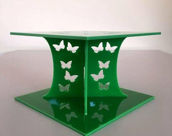 """Butterfly Square Bright Green Gloss Acrylic Cake Pillars/Cake Separators, for Wedding/Party Cakes 10cm 4"""" High, Size 6"""" 7"""" 8"""" 9"""" 10"""" 11"""" 12"""""""