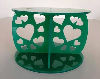 "Hearts Round Green Gloss Acrylic Cake Pillars / Cake Separators, for Wedding / Party Cakes 10cm 4"" High, Size 6"" 7"" 8"" 9"" 10"" 11"" 12"""