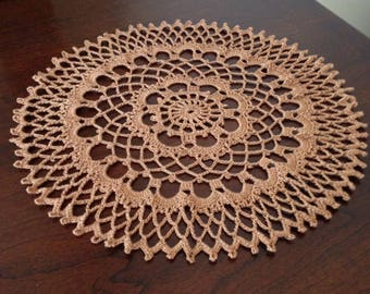 "10"" Brown Doily, Handmade Crochet, Beautiful!"