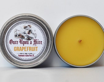Grapefruit Beeswax Candle Tin | 4 oz. Candle | Natural | Travel Tin | Container Candle | Scented