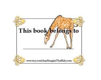 Giraffe Bookplate - Printable Bookplates - Instant Download