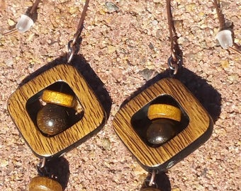 Wooden Diamond Shaped Earrings