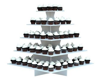 Large White Cupcake Display Stand Row 100 Ct Party Platter Tray 5 Tiers Wedding Graduation
