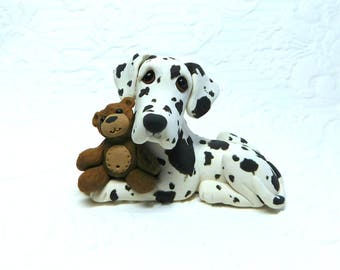 Harlequin Great Dane, Great Dane lover, Great Dane art Sculpture Polymer Clay by Raquel at theWRC