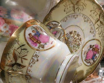 Royal Sealy / Porcelain Tea Cup Saucer Set / Courting Couple /  Lusterware