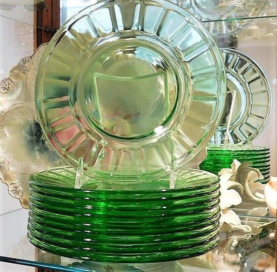 Green Vaseline Uranium Glass / Depression Glass Plates / Luncheon / Quantity 10 Available